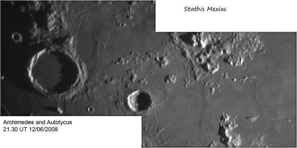 This is a mosaic of 2 pictures of the Archimedes Crater at the left, and the surrounding area. Telescope: C9.25 at f20 Camera: DMK21AU04 with red filter Processing: 2 avis with 1800 frames each, Registax 4, Photoshop cs3