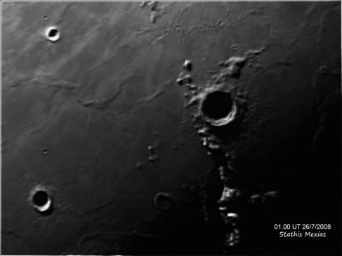 Crater Eratosthenes. Telescope: C9.25 at f10 Camera: DMK21AU04 with red filter Processing: Registax 4, Photoshop cs3