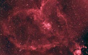 IC 1805, Heart Nebula. Telescope: ED80 Mount: HEQ5 pro autoguided with QHY5 Guide scope: Bresser 70/700 Camera: QHY8 Exposures: 12X1200 sec Ha bin 1X1, 5X10 min bin 1X1 color Processing: Pixinsight
