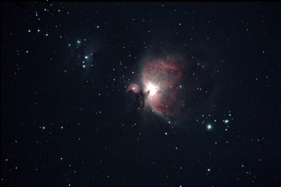 M42, Orion Nebula. Telescope: ED80 at f7.5 Camera: Canon eos 450D at iso 1600 Exposures: lights 2X2 mins, darks 2X2 mins Processing: deepskystacker, Photoshop cs3, Location: Rafina, Attiki