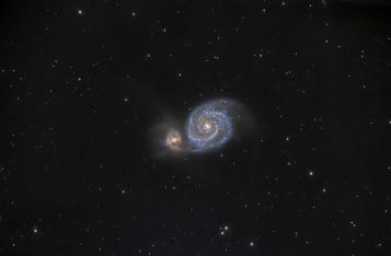 M51, Whirpool Galaxy. Telescope: AT8RC Camera: QHY8 Exposures: 26x10 min Processing: Pixinsight 1.5 Seeing: 4 arc sec Location: Chiliomodi, Corinthia