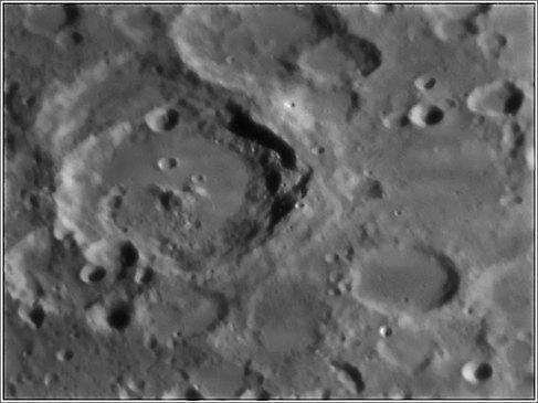 Crater Maurolycus. Telescope: C9.25 at f20 Camera: DMK21AU04 Processing: Registax 4, Photoshop cs3