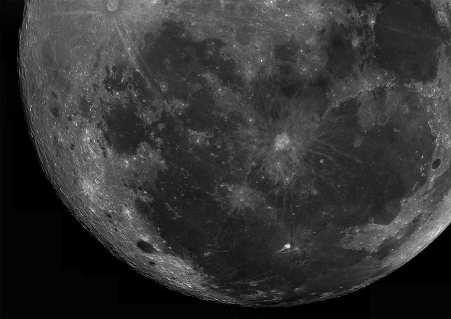 A partial mosaic of the moon. Composed of 25 photos. Telescope: C9.25 at f10 Camera: DMk21Au04 with red filter Processing: 25 avis processed in Registax 4, Photoshop cs3.
