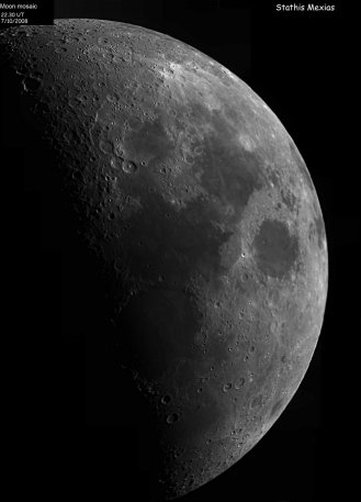 Moon mosaic, the moon was at around 35% phase. Telescope: C9.25 at f10 Camera: DMK21AU04 with red filter Processing: Registax 4, Photoshop cs3