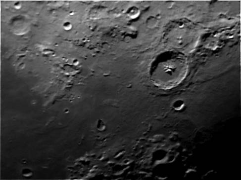 Crater Theophilus and area. Telescope: C9.25 at f10 Camera: DMK21Au04 with red filter Processing: Registax 4, Photoshop cs3